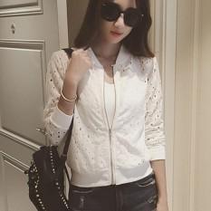 Diskon Besaramart Fashion Jaket Bomber Wanita Mantel Tipis Kasual Lengan Panjang Berenda Putih