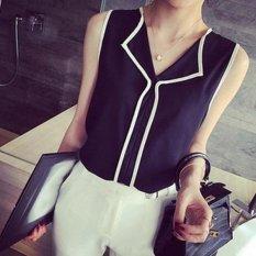 Toko Amart Fashion Rompi Kaos Jersey Rayon Wanita Berkerah V Elegan Berpinggang Without Lengan Hitam Lengkap Di Tiongkok