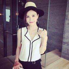 Beli Amart Fashion Kaos Rompi Sifon Wanita Berkerah V Without Lengan Elegan Berpinggang Putih Online Tiongkok
