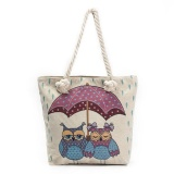 Review Pada Amart Fashion Women Cute Owl Printed Canvas Beach Bag Casual Tote Shopping Shoulder Bag Intl