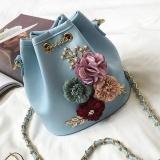 Review Tentang Amart Fashion Wanita Buket Bunga Tas Bahu Kulit Pu Kecil Bertali Rantai Cross Body Bag Intl