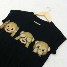 Amart Fashion Women Harajuku O-neck Cartoon T-shirt Monkey/Smile Face Emoji Printed Short Sleeve Tops - intl