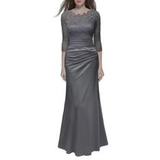 Amart Fashion Wanita Gaun Panjang Lace Splice Slim Elegan Ladies Pesta Pernikahan Formal Gaun (Abu-abu)-Intl