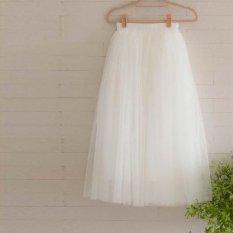 Harga Amart Fashion Rok Panjang Wanita Rok Multi Lapisan Lurus Mesh Elastis Pinggang Rok Murah