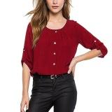 Beli Amart Fashion Wanita Lengan Panjang Sifon Blus Kasual Tombol Shirt Casual Loose Blouses Tops Merah Intl Amart Asli