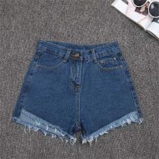Cuci Gudang Amart Fashion Celana Pendek Jeans Denim Musim Panas Wanita Slim Kasual Berpinggang Tinggi Biru Tua