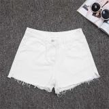 Amart Fashion Jeans Denim Panas Musim Wanita Slim Kasual Pants Bang Pendek Berpinggang Tinggi Putih Di Tiongkok