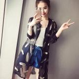 Amart Fashion Mantel Musim Panas Pantai Untuk Wanita China Blus Panjang Kasual Longgar Bercetak Jersey Rayon Tipis Lengan 3 4 Amart Diskon