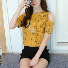 Toko Amart Fashion Wanita Musim Panas Floral Cetak Elegan Off Bahu Blus Kemeja Sifon Kuning Intl Amart Online