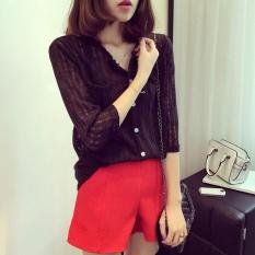 Review Amart Fashion Blus Musim Panas Wanita Berlengan Kuartal Tiga Kemeja Katun Linen Tipis Berleher V Hitam Intl Tiongkok