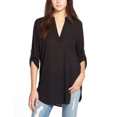 Promo Amart Fashion Atasan Wanita Jersey Rayon Tidak Teratur Panjang Longgar Kasual Leher V Berlengan Panjang Ukuran Better 5Xl Hitam