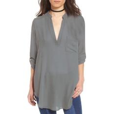 Toko Jual Amart Fashion Wanita V Neck Chiffon Kasual Longgar Lengan Panjang Tidak Teratur Panjang Ukuran 5Xl Grey Intl