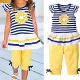 Jual Amart Set Pakaian Musim Panas Cewek Lengan Pendek Bunga Daisy T Shirt Garis Celana Anak Anak Pakaian Bayi Internasional Murah Di Tiongkok