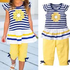 Toko Amart Set Pakaian Musim Panas Cewek Lengan Pendek Bunga Daisy T Shirt Garis Celana Anak Anak Pakaian Bayi Internasional Online Di Tiongkok