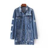 Harga Amart Fashion Korea Musim Semi Musim Gugur Wanita Panjang Denim Coat With Pocket Lengan Panjang Jins Lubang Outwear Casual Jaket Intl Yg Bagus