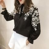 Beli Amart Fashion Korea Wanita Blus Katun Bordir Bunga Lengan Panjang Kemeja Ukuran Better Hitam Dengan Kartu Kredit