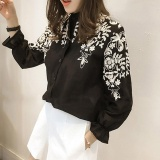 Harga Termurah Amart Fashion Korea Wanita Blus Katun Bordir Bunga Lengan Panjang Kemeja Ukuran Better Hitam