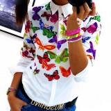 Amart Korea Fashion Wanita Panjang Lengan Butterfly Flower Print Blus Top Loose Slim Fit Shirt Blouses Tops Intl Asli