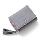 Promo Amart Korean Fashion Women Short Purse Pu Leather Tassels Zipped Card Holder Casual Wallets Intl