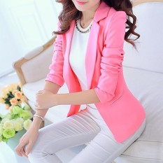 Amart Fashion Korea Wanita Slim Fit Solid Suit Blazer Jacket Coat Casual Satu Tombol Outwear Tops-Intl