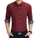 Harga Amart Kemeja Pria Lengan Panjang Berbahan Katun Tops Shirt Merah Anggur Intl Online