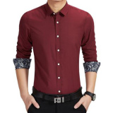 Jual Amart Kemeja Pria Lengan Panjang Berbahan Katun Tops Shirt Merah Anggur Intl Tiongkok Murah