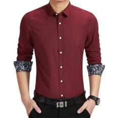 Spesifikasi Amart Kemeja Pria Lengan Panjang Berbahan Katun Tops Shirt Merah Anggur Intl Murah
