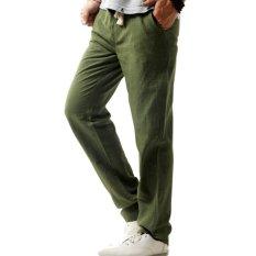 Jual Amart Celana Lurus Pria Musim Panas Katun Linen Kasual Berpinggang Elastis Celana Polos Tipis Kebugaran Olahraga Berukuran Lebih Hijau Di Bawah Harga
