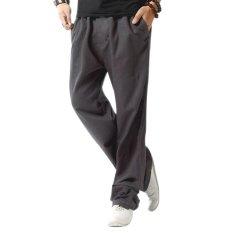 Amart Celana Lurus Pria Musim Panas Katun Linen Kasual Berpinggang Elastis Celana Polos Tipis Kebugaran Olahraga Berukuran Lebih Abu Abu Di Tiongkok