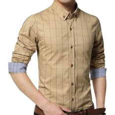 Diskon Amart Pria Kemeja Lengan Panjang Katun Kemeja Kotak Kotak Pakaian Atas Dril Amart