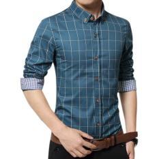 Harga Amart Pria Kemeja Lengan Panjang Katun Kemeja Kotak Kotak Pakaian Atas Danau Biru Asli