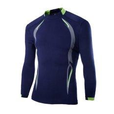 Obral Amart Kaos Pria Lengan Panjang Pakaian Kemeja Olahraga Bersepeda Outdoor Biru Laut Murah