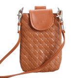 Harga Hemat Amart Phone Shoulder Bags Clutch Bag Knitting Bag For Iphone 4S 5 5S Mp3 4 Brown Intl