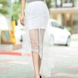 Beli Amart Wanita Gaun Tulle Panjang Rok Netting Benang Dovetail Elegan Renda Rok Tinggi Pinggang Rok Intl Yang Bagus