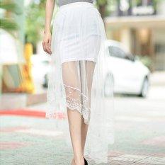 Toko Amart Wanita Gaun Tulle Panjang Rok Netting Benang Dovetail Elegan Renda Rok Tinggi Pinggang Rok Intl Lengkap Di Tiongkok