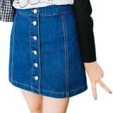 Beli Amart Fashion Sederhana Musim Panas Wanita Denim Rok Pinggang Tinggi Berkancing Sebaris Depan Jeans Pensil Vintage Rok Intl Secara Angsuran