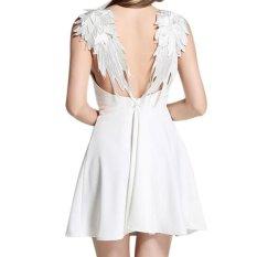 Toko Amart Fashion Musim Panas Gaun Wanita A Line Ramping Seksi Tanpa Punggung Berenda Gaun Pantai Bertali Yang Bisa Kredit