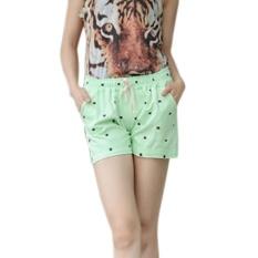 Promo Amart Panas Wanita Katun Shorts Cats Dicetak Elastis Tinggi Pinggang Celana Pendek Pantai Casual Shorts Hijau Intl Amart Terbaru