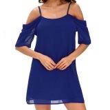 Harga Amart Panas Wanita Off Shoulder Strap Dress Lengan Pendek Sifon Kasual Gaun Sapphire Blue Intl Branded