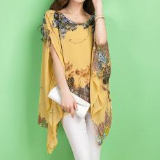 Lengan Baju Musim Panas Seksi Wanita Amart Berwarna Mata Kuning Bermotif Bunga-bunga Berbahan Kain Sutera Tipis Longgar For Dirty Sweat Baju Atasan