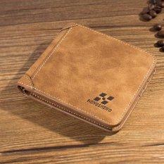 Amart dompet pria Vintage dompet pendek kulit PU pria tiga lipatan slot kartu