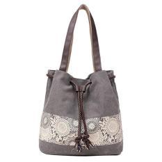 Jual Beli Online Amart Casing Bahu Wanita Kanvas Bunga The Shopping Bag Kasual Bertali Berkapasitas Besar Abu Abu Intl