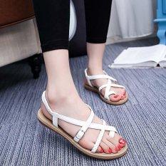 Jual Amart Wanita Sandal Crossed Dikepang Tali Sepatu Pantai Bertumit Datar Putih Intl Ori