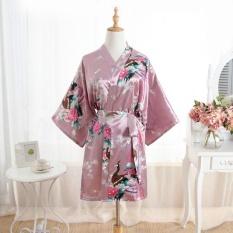 Amart Kimono Mandi Pendek Jubah Mandi Malam Wanita Satin Bercetak Bunga Merak (coklat)