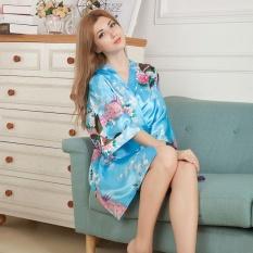 Amart Kimono Mandi Pendek Jubah Mandi Malam Wanita Satin Bercetak Bunga Merak (biru Danau)