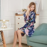 Harga Amart Kimono Mandi Pendek Jubah Mandi Malam Wanita Satin Bercetak Bunga Merak Biru Online Tiongkok