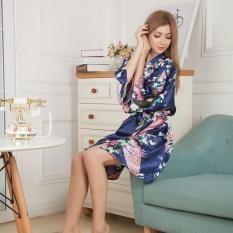 Harga Amart Kimono Mandi Pendek Jubah Mandi Malam Wanita Satin Bercetak Bunga Merak Biru Tiongkok