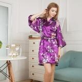 Jual Amart Wanita Satin Bercetak Bunga Merak Kimono Mandi Pendek Jubah Mandi Malam Ungu Intl Online Di Tiongkok