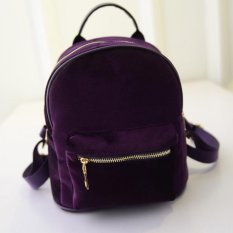 Amart Ransel velvet wanita zipper street bags ( Ungu)