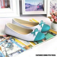 Amelia Olshop - Sepatu Flatshoes Combi Pita tosca - Murah Dan berkualitas